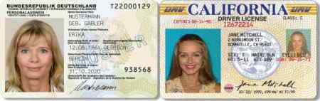 German Identity Card, California Driver License